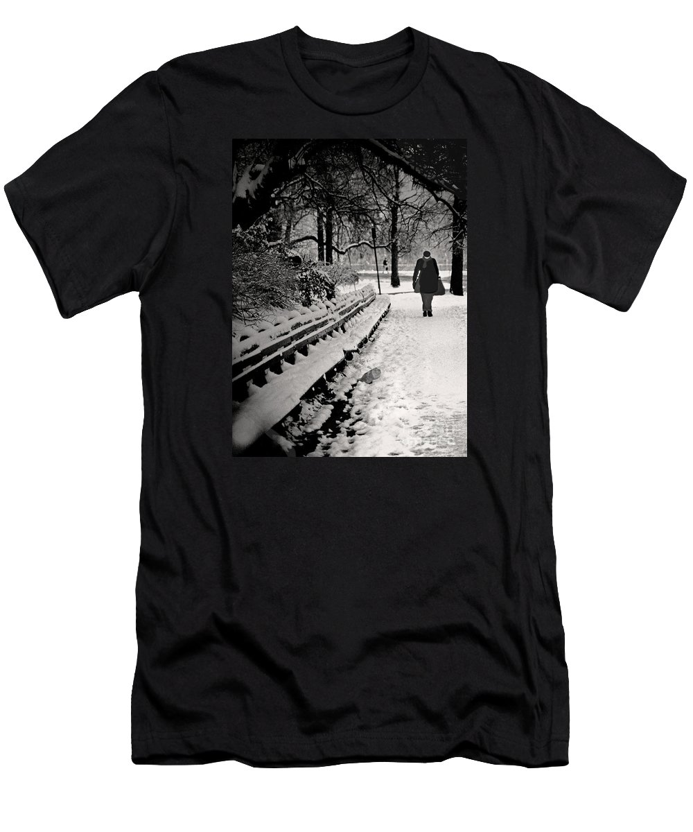 Winter Men's T-Shirt (Athletic Fit) featuring the photograph Winter In Central Park by Madeline Ellis