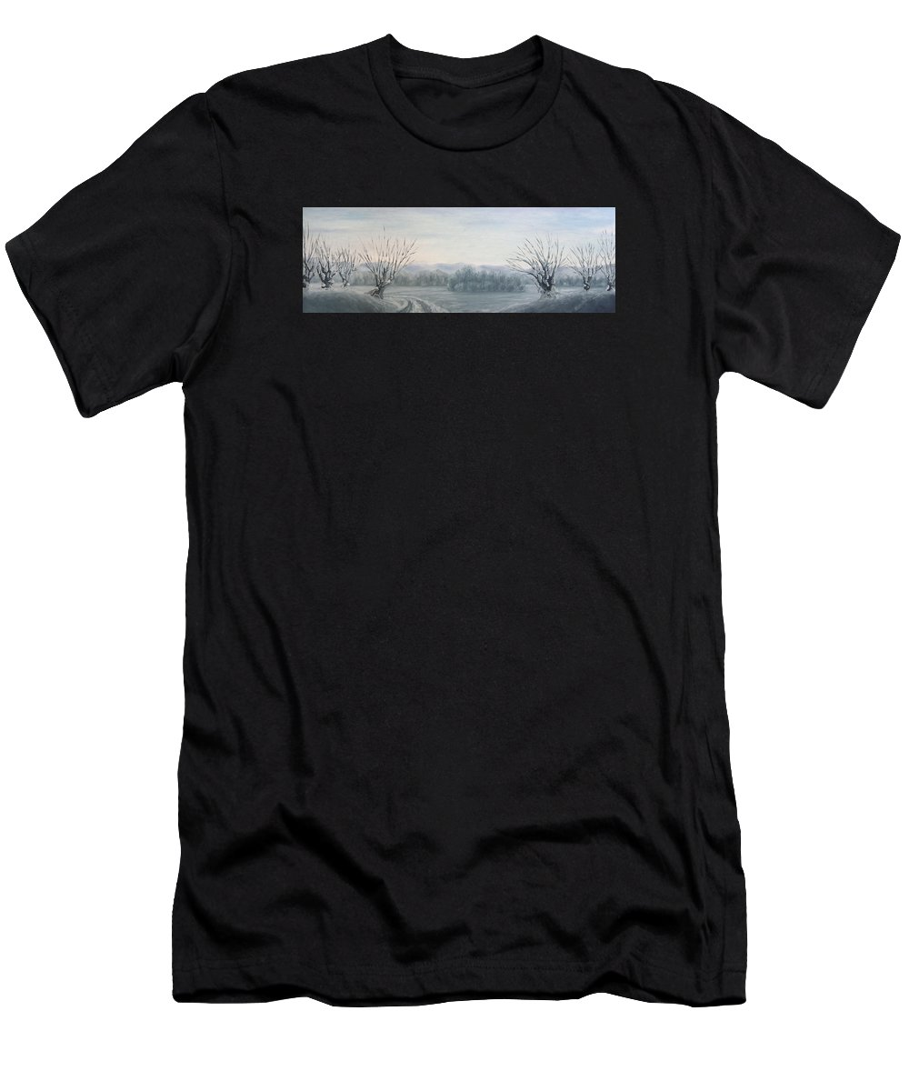Landscape Men's T-Shirt (Athletic Fit) featuring the painting Winter Landscape by Andreja Dujnic
