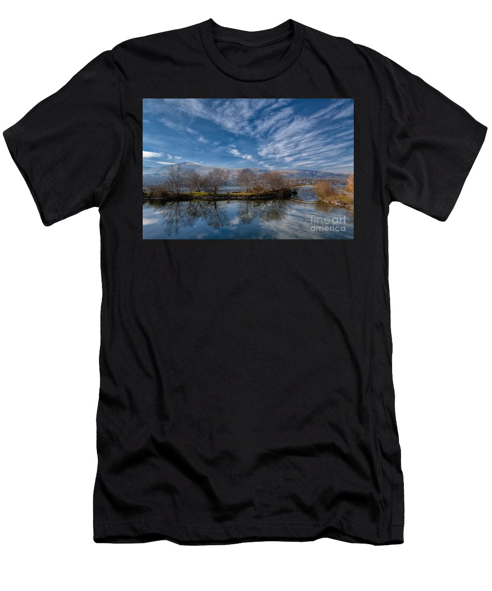 Llanberis Lake Men's T-Shirt (Athletic Fit) featuring the photograph Winter Reflections by Adrian Evans