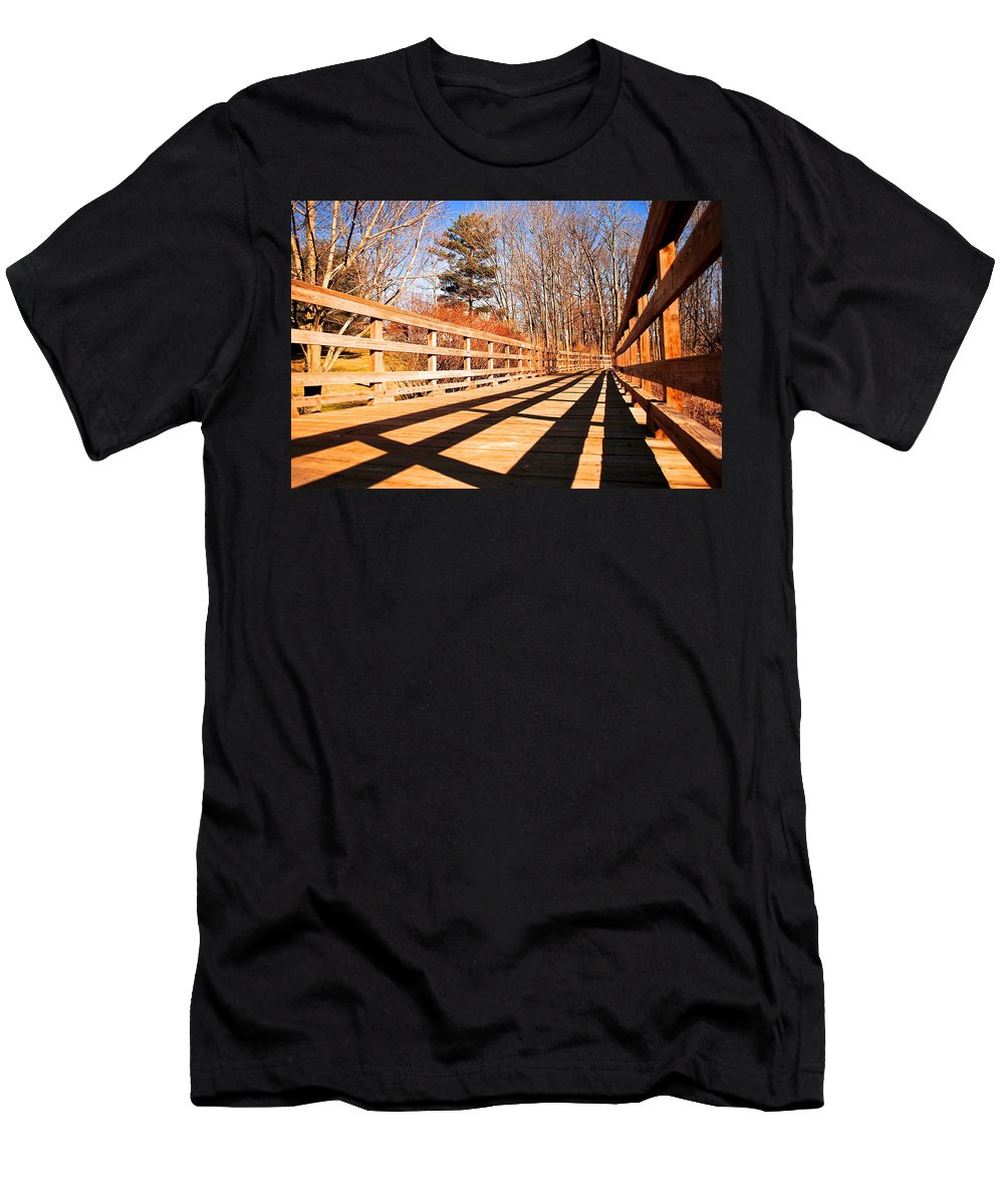 Bridge Men's T-Shirt (Athletic Fit) featuring the photograph Winter Spring Crossover by Frozen in Time Fine Art Photography