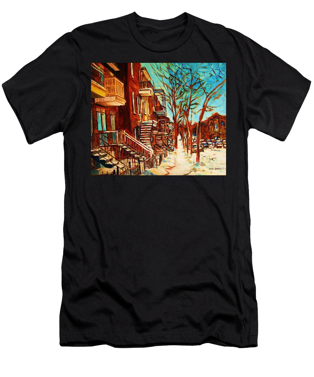 Verdun Paintings By Montreal Street Scene Artist Carole Spandau Men's T-Shirt (Athletic Fit) featuring the painting Winter Staircase by Carole Spandau