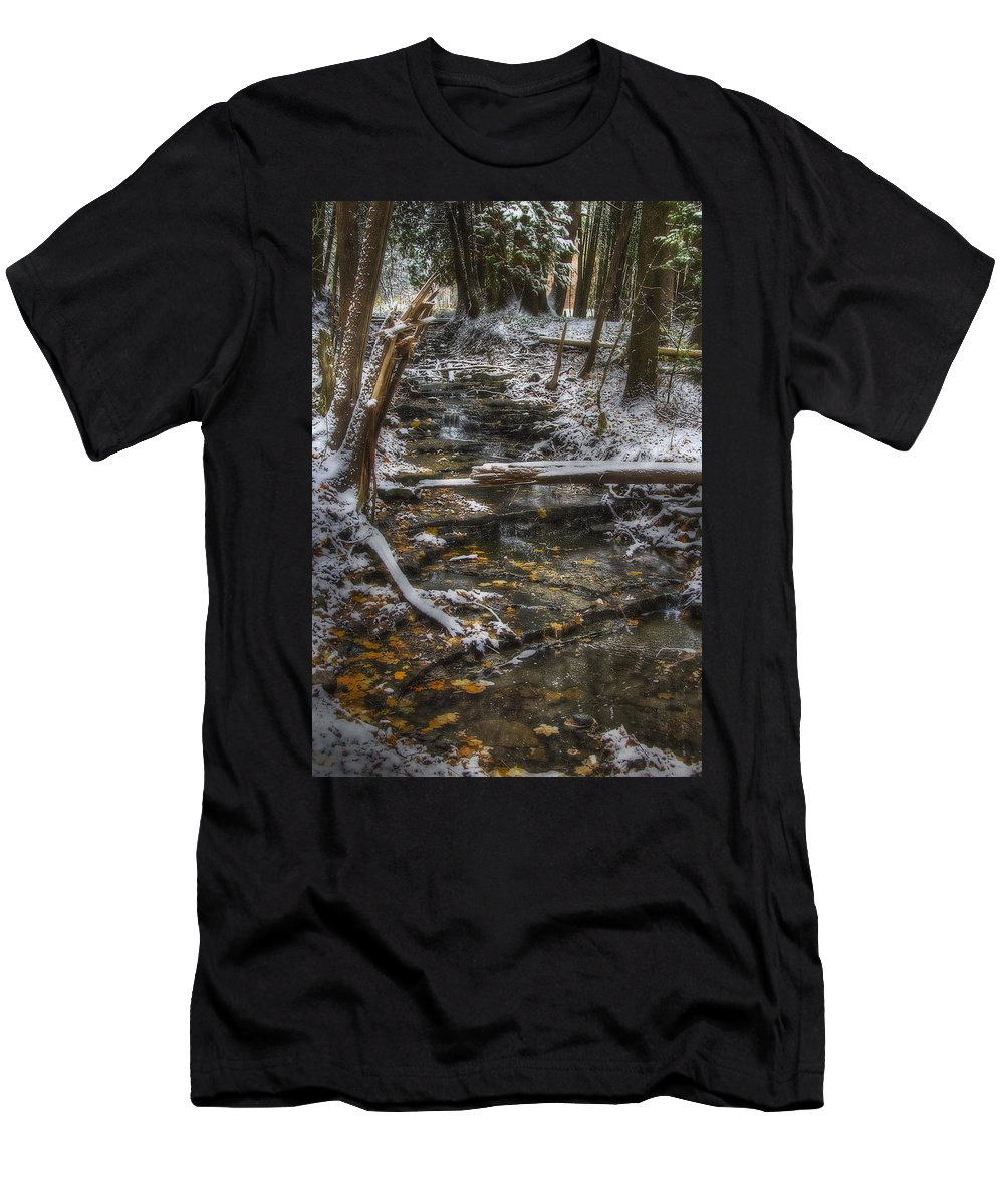 Landscape Men's T-Shirt (Athletic Fit) featuring the photograph Winter Stream by J McGill