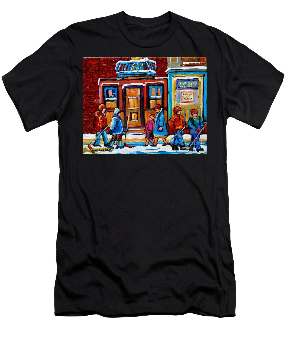 Montreal Men's T-Shirt (Athletic Fit) featuring the painting Winter Street In Saint Henri by Carole Spandau