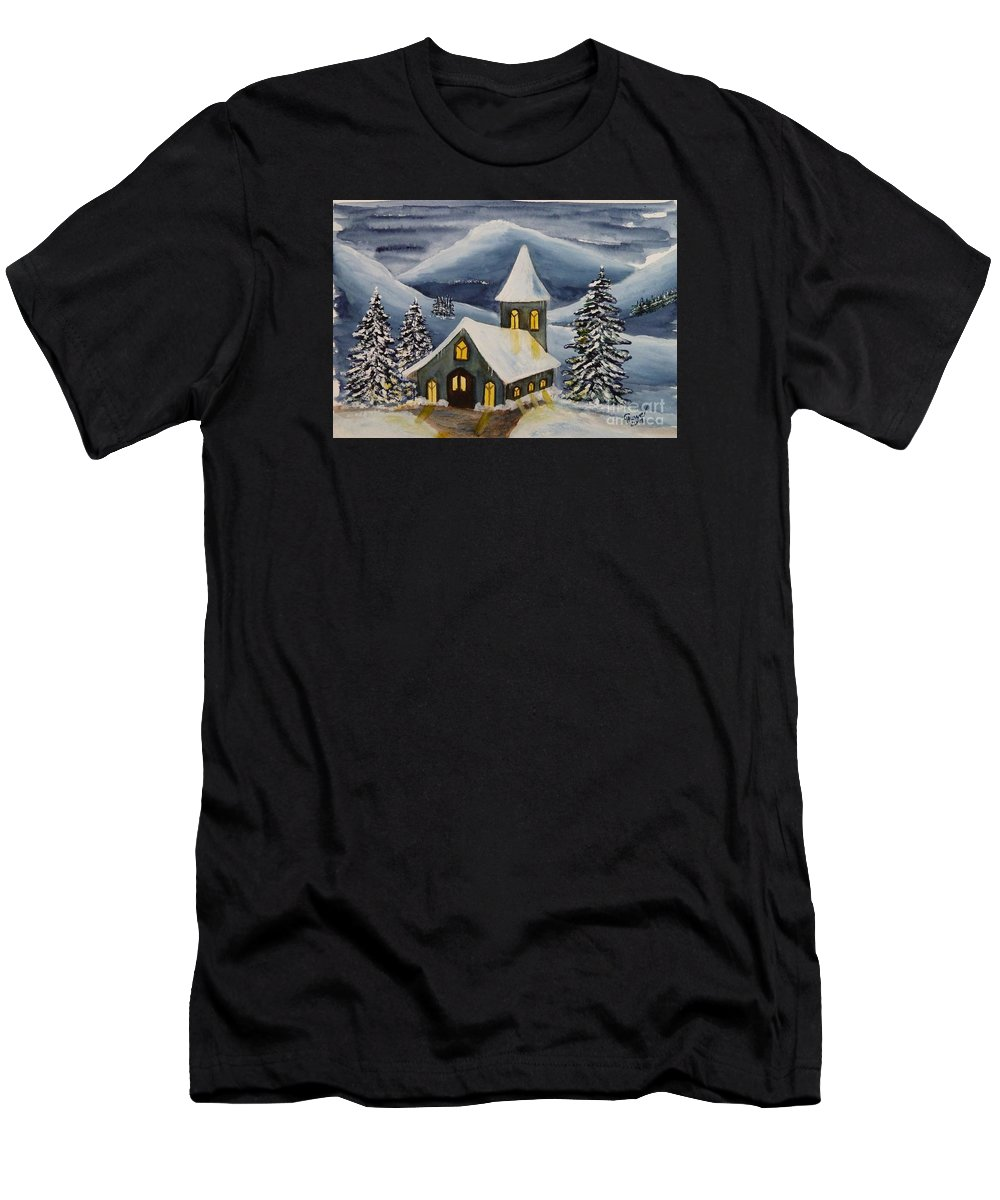 Christmas Men's T-Shirt (Athletic Fit) featuring the painting Winter Watercolor by Christine Huwer