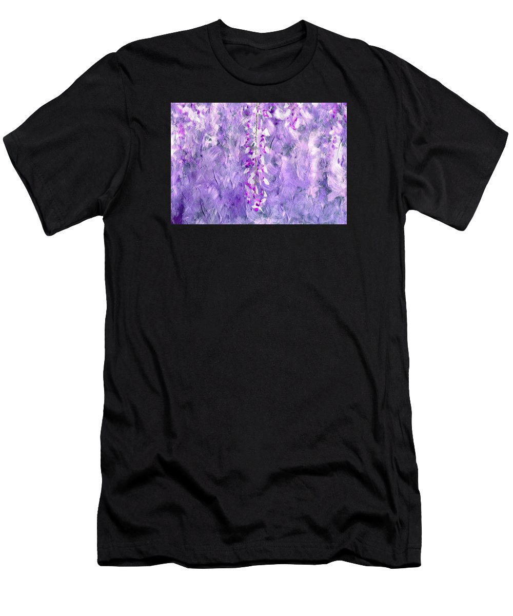 Abstract Men's T-Shirt (Athletic Fit) featuring the mixed media Wisteria Grunge Abstract by Georgiana Romanovna