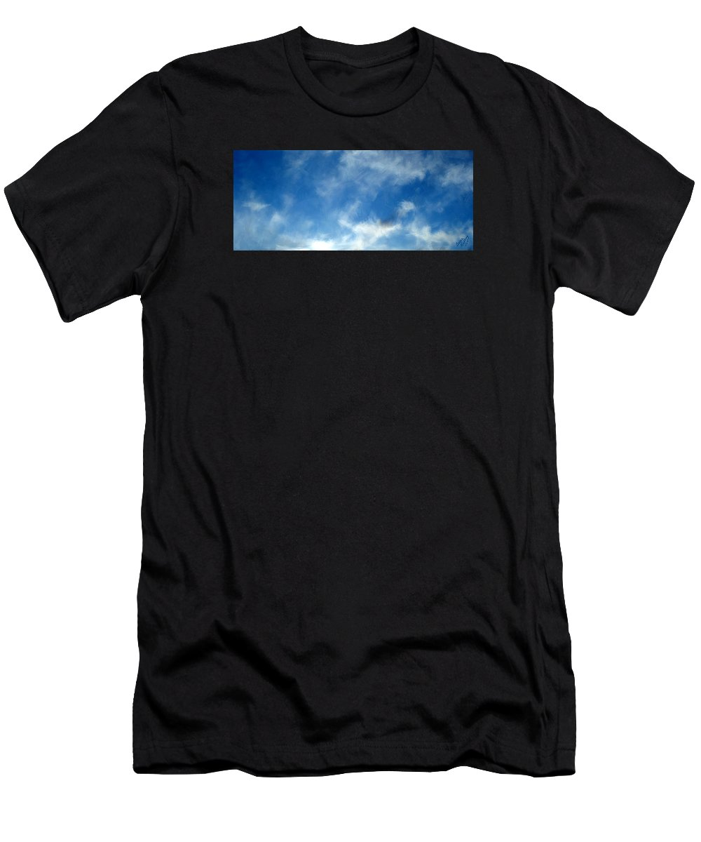 Clouds Men's T-Shirt (Athletic Fit) featuring the painting Wistfulness In The Sky by Bruce Nutting