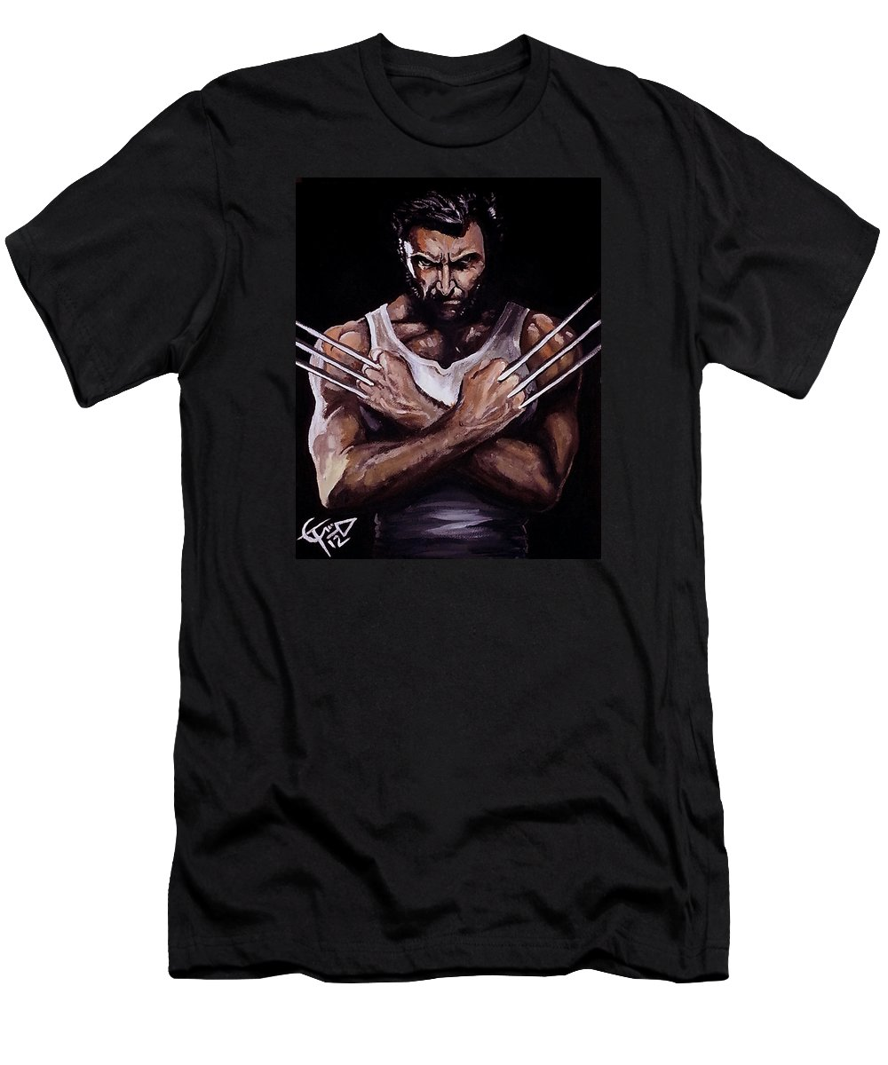 Hugh Jackman Men's T-Shirt (Athletic Fit) featuring the painting Wolverine by Tom Carlton