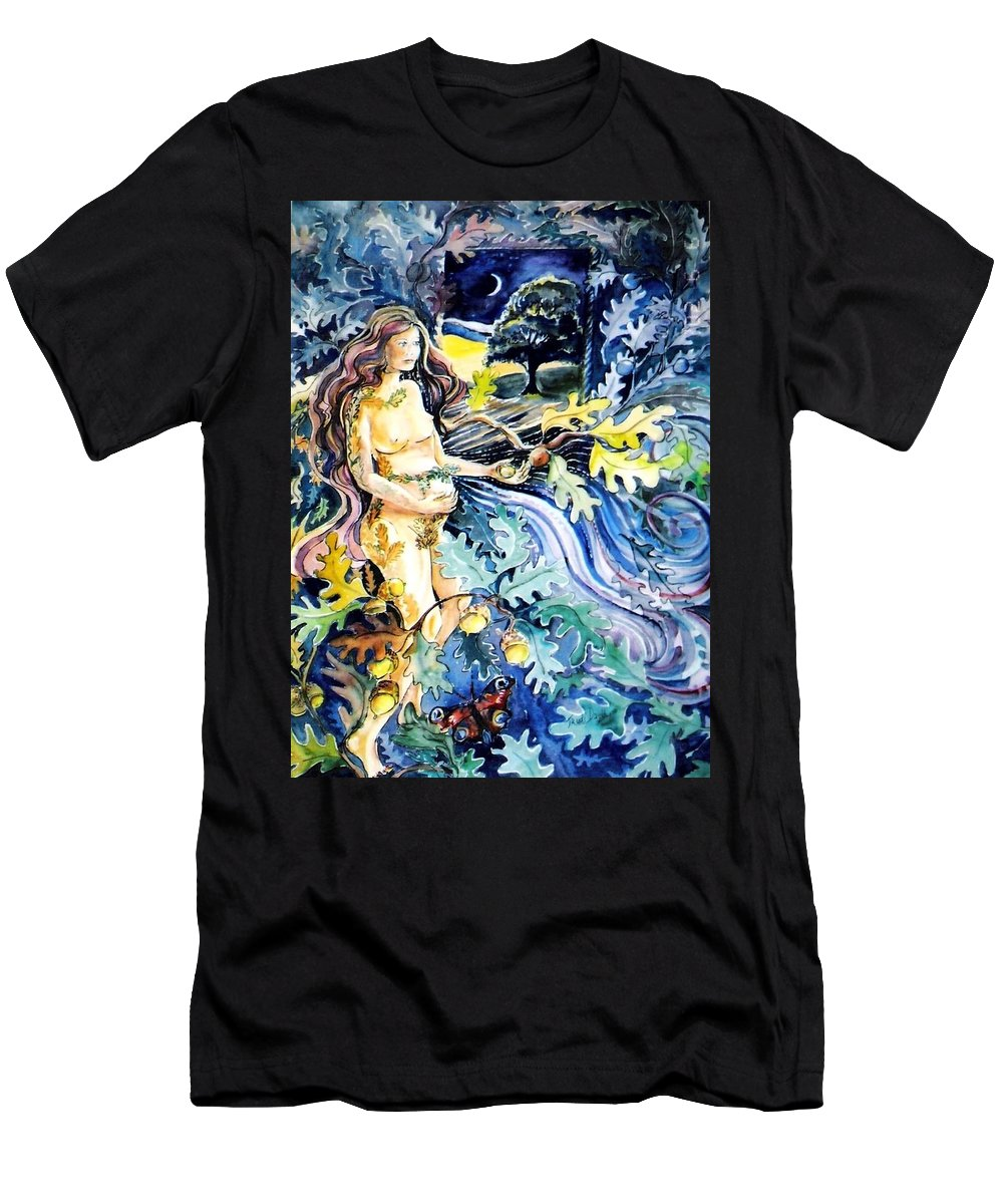 Acorn Men's T-Shirt (Athletic Fit) featuring the painting Woman Holding An Acorn - by Trudi Doyle