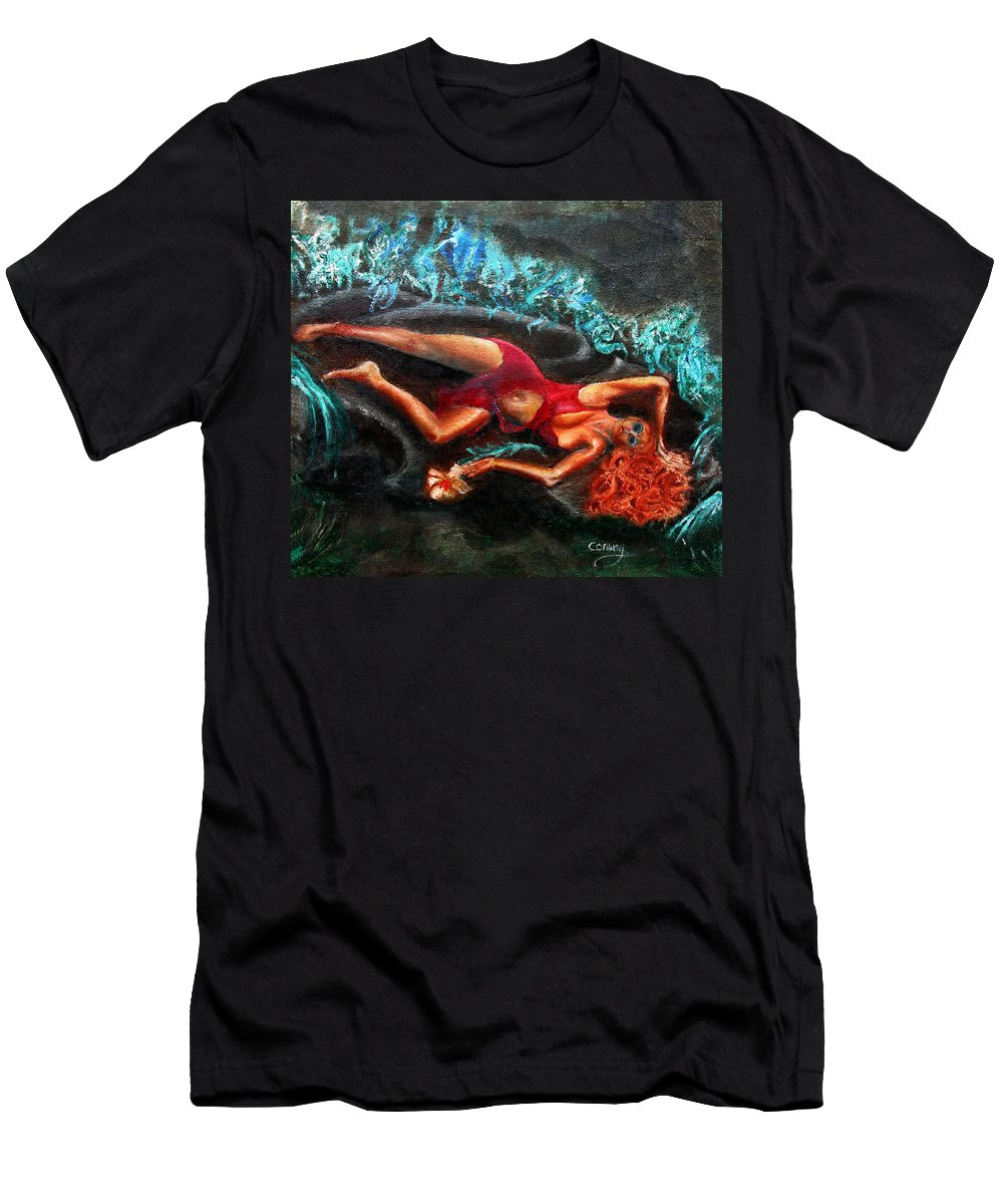 Females Men's T-Shirt (Athletic Fit) featuring the painting Woman In A Red Dress Holding A Flower by Tom Conway