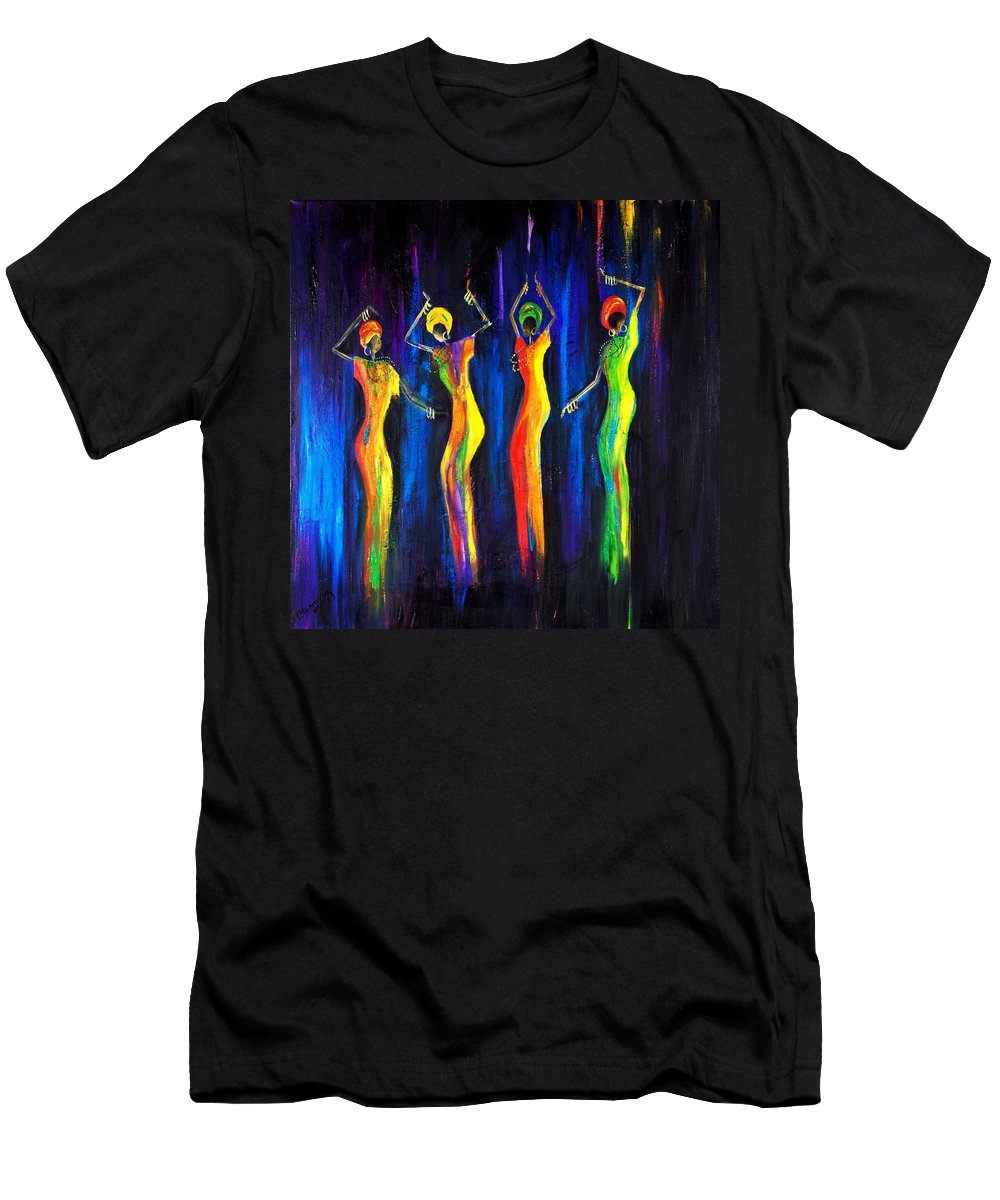 Women Paintings Men's T-Shirt (Athletic Fit) featuring the painting Womens Day Celebration In South Africa by Marietjie Henning