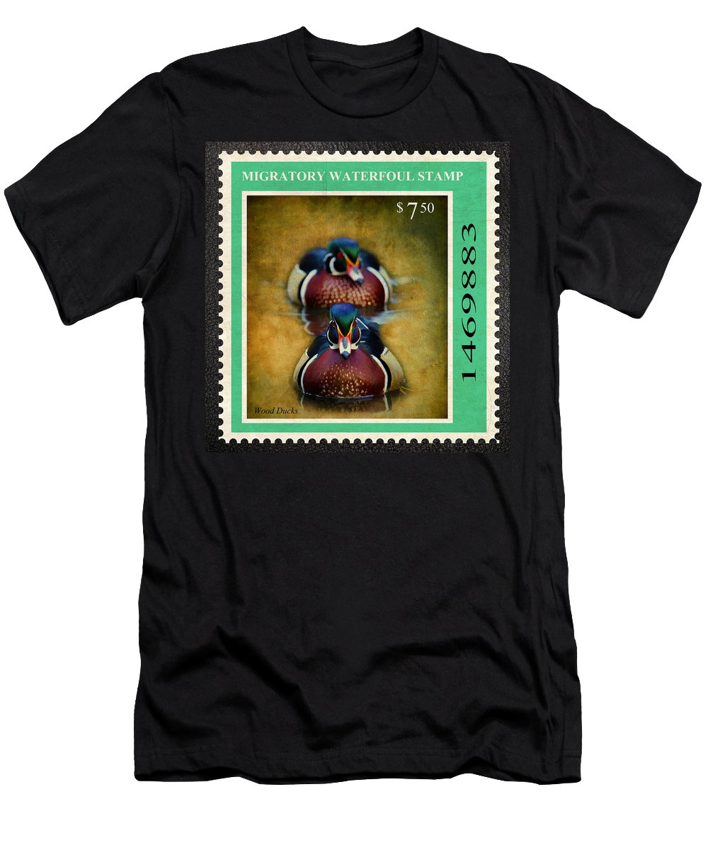 Drakes Men's T-Shirt (Athletic Fit) featuring the photograph Wood Duck Stamp by Steve McKinzie