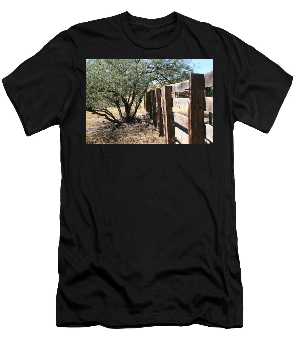 Fence Men's T-Shirt (Athletic Fit) featuring the photograph Wood Fence by David S Reynolds