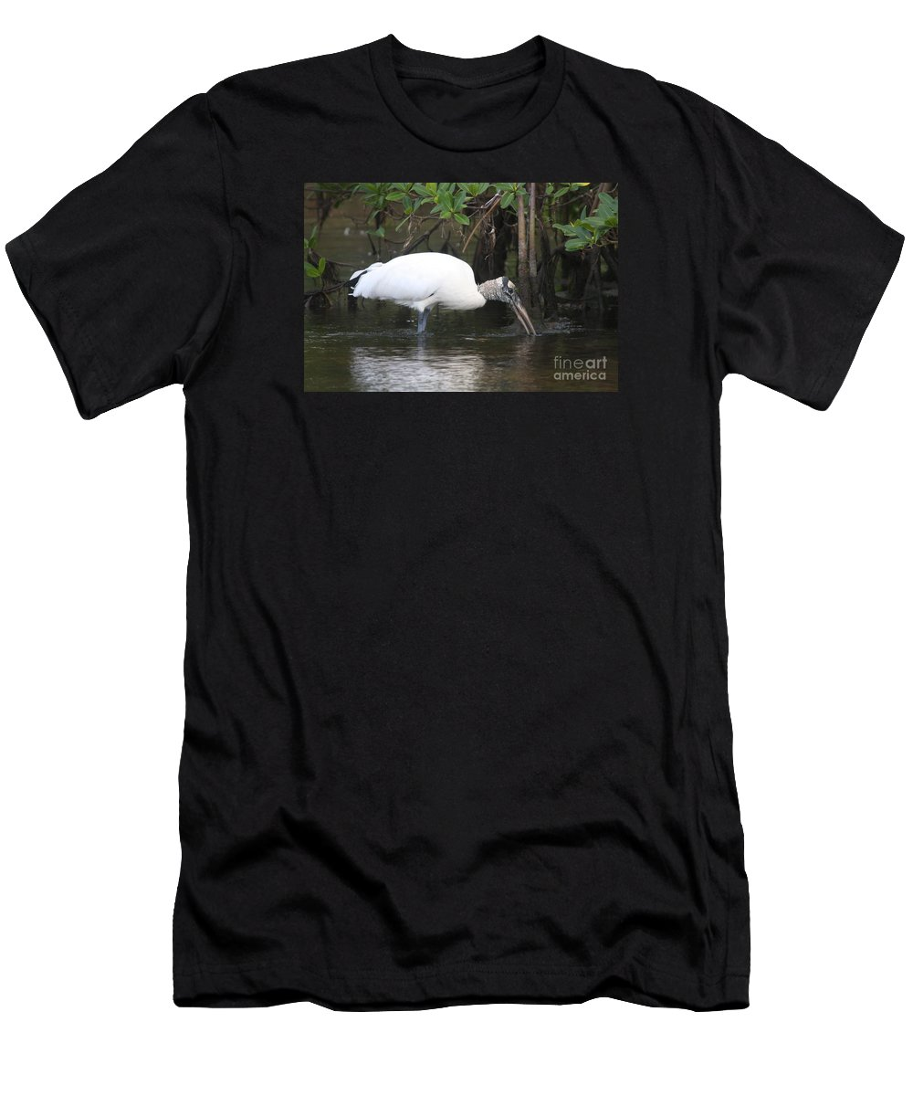 Wood Stork Men's T-Shirt (Athletic Fit) featuring the photograph Wood Stork In The Swamp by Christiane Schulze Art And Photography