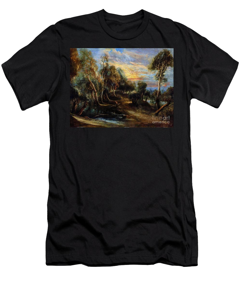 Woodland Men's T-Shirt (Athletic Fit) featuring the painting Woodland Scenery by Viktor Birkus