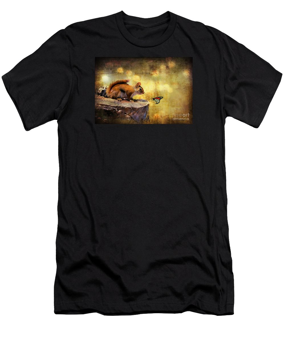 Wildlife Men's T-Shirt (Athletic Fit) featuring the photograph Woodland Wonder by Lois Bryan