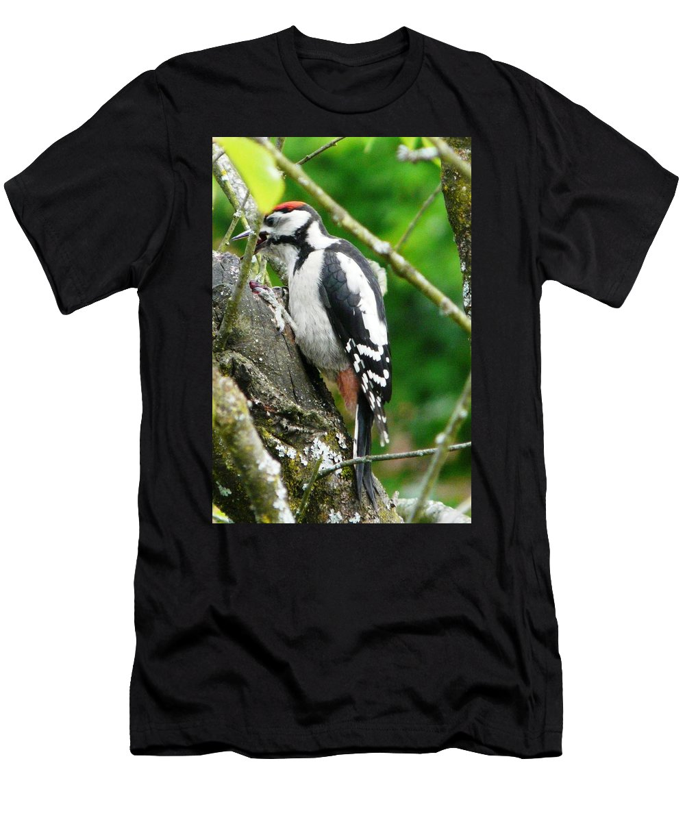 Bird Men's T-Shirt (Athletic Fit) featuring the photograph Woodpecker Swallowing A Cherry by Valerie Ornstein