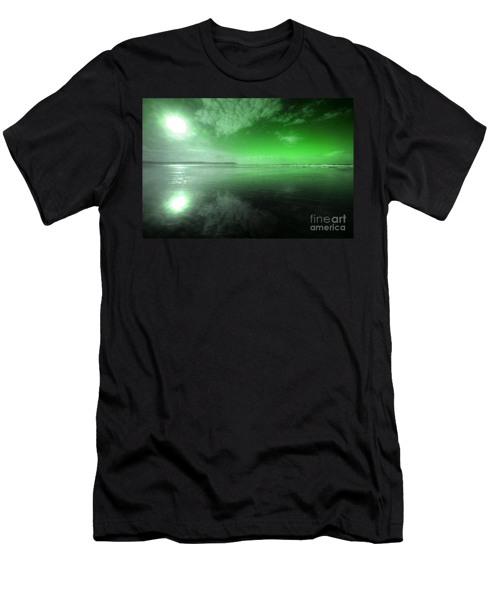 Woolacombe Men's T-Shirt (Athletic Fit) featuring the photograph Woolacombe Beach In Green by Rob Hawkins