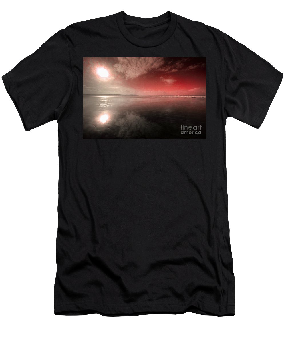 Woolacombe Men's T-Shirt (Athletic Fit) featuring the photograph Woolacombe Beach In Red by Rob Hawkins