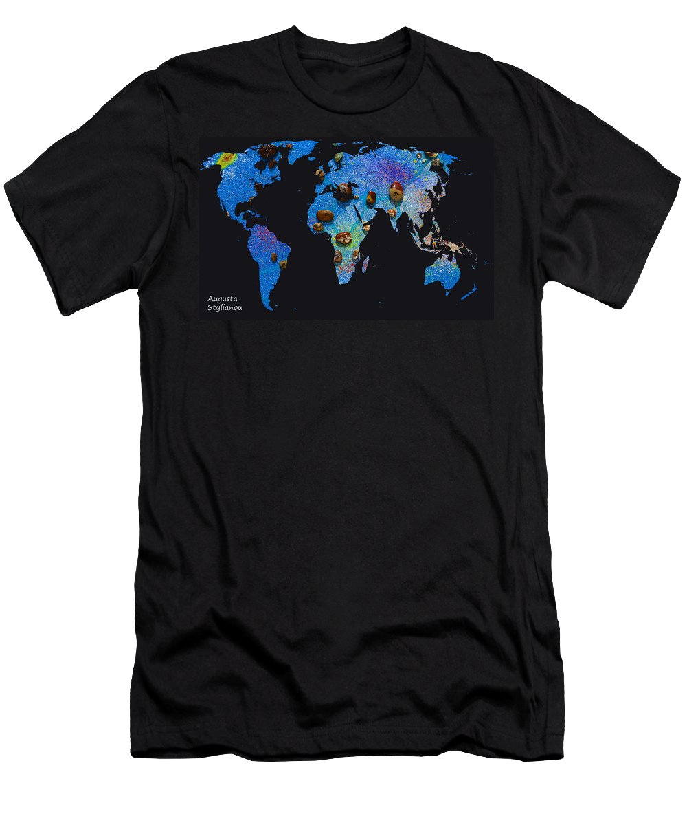 Augusta Stylianou Men's T-Shirt (Athletic Fit) featuring the digital art World Map And Sagittarius Constellation by Augusta Stylianou