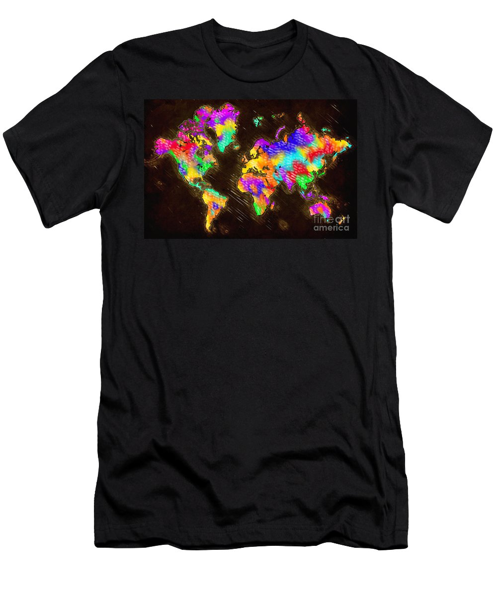 World Map Men's T-Shirt (Athletic Fit) featuring the painting World Map Color by Tim Gilliland