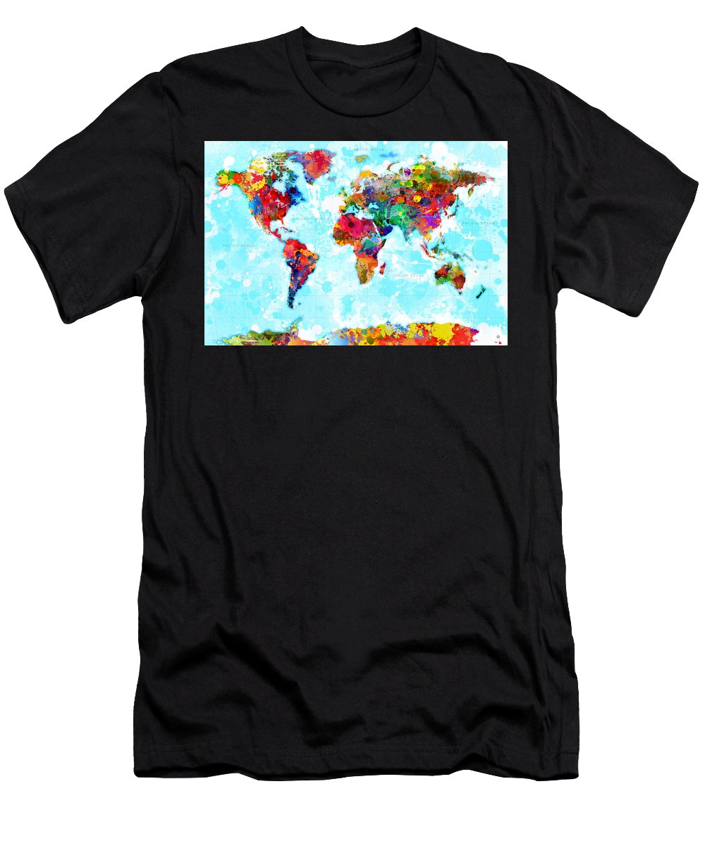 World Men's T-Shirt (Athletic Fit) featuring the digital art World Map Spattered Paint by Gary Grayson