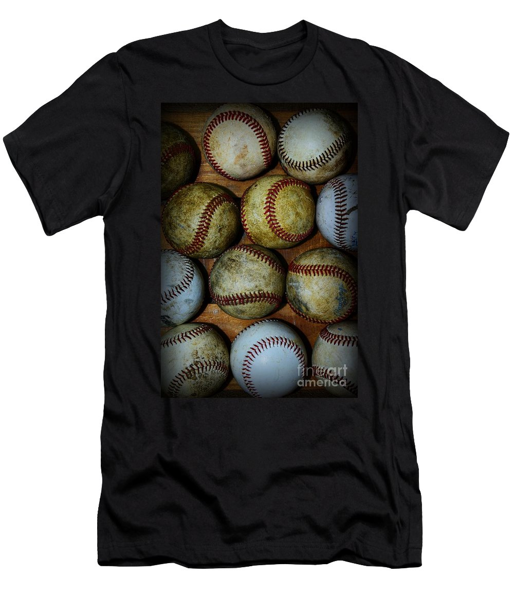 Paul Ward Men's T-Shirt (Athletic Fit) featuring the photograph Worn Out Baseballs by Paul Ward