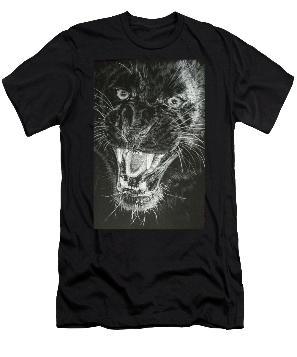 Leopard Men's T-Shirt (Athletic Fit) featuring the drawing Wrath by Barbara Keith