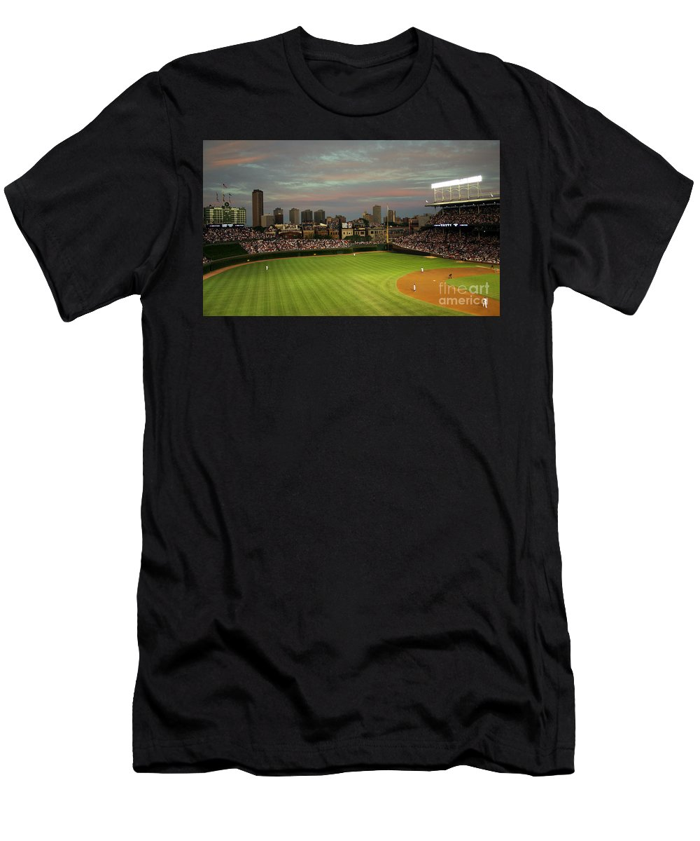 Wrigley Field Men's T-Shirt (Athletic Fit) featuring the photograph Wrigley Field At Dusk by John Gaffen