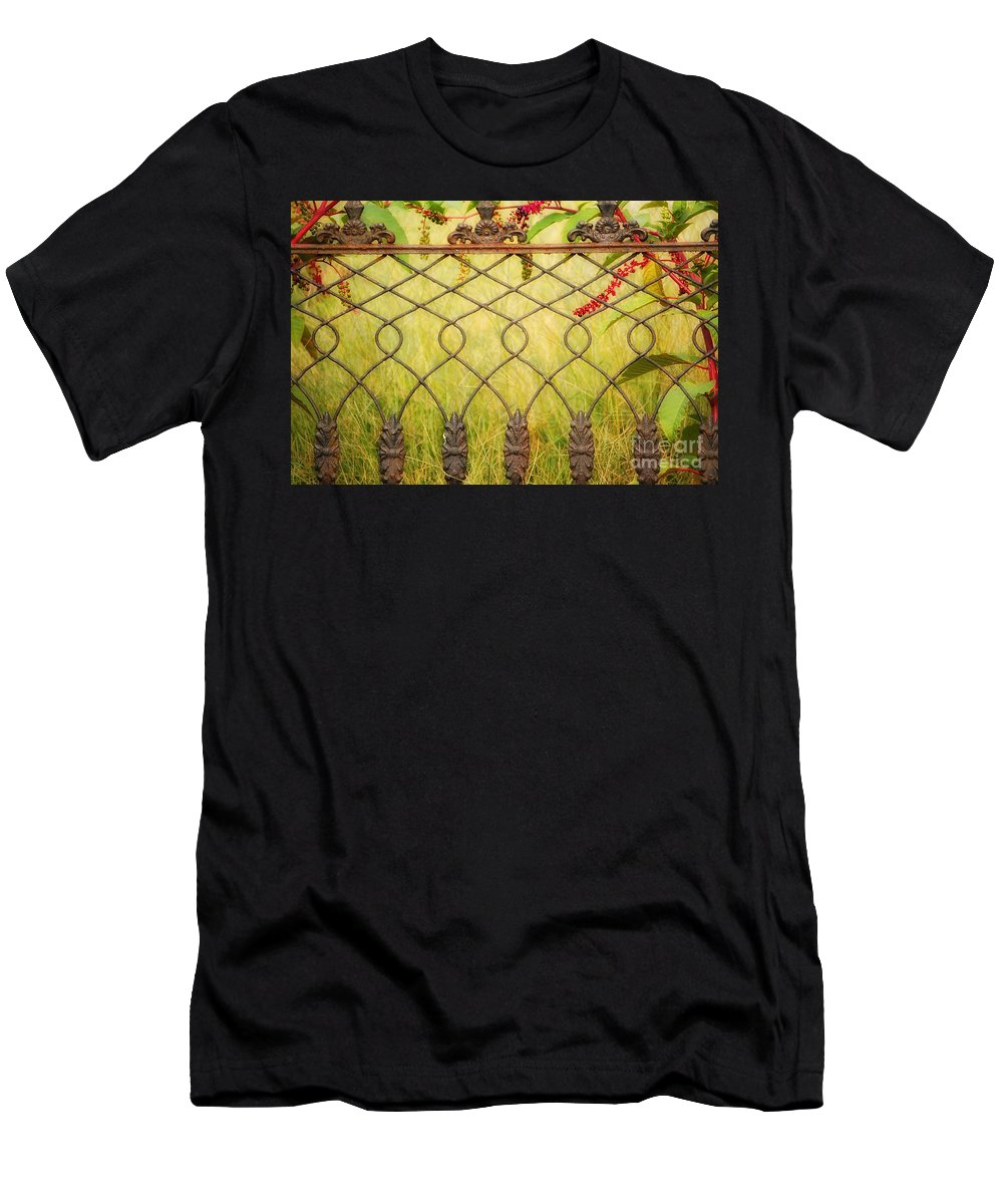 Fence Men's T-Shirt (Athletic Fit) featuring the photograph Wrought Iron With Red And Green by Kathleen K Parker