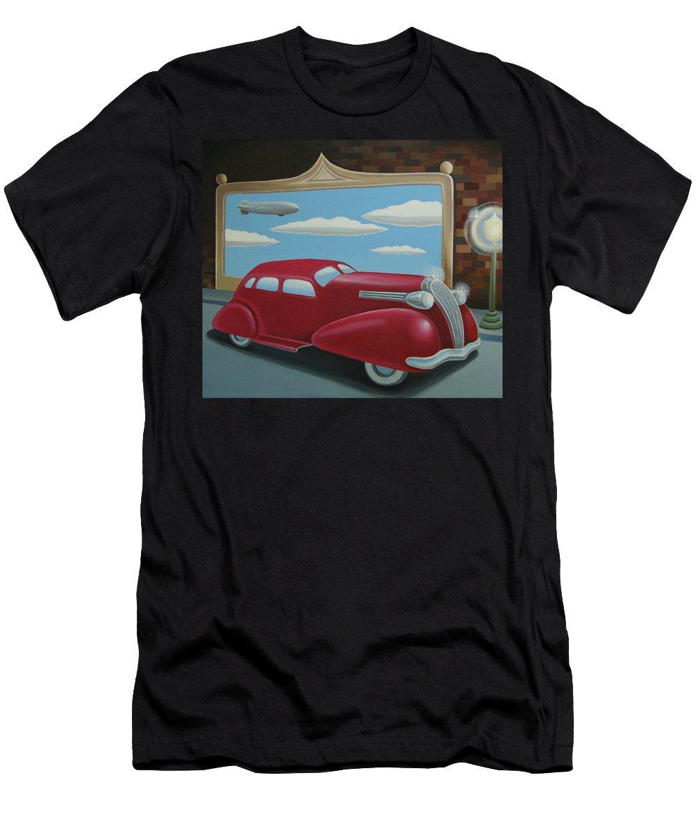 Automotive Men's T-Shirt (Athletic Fit) featuring the painting Wyandotte Lasalle by Stuart Swartz