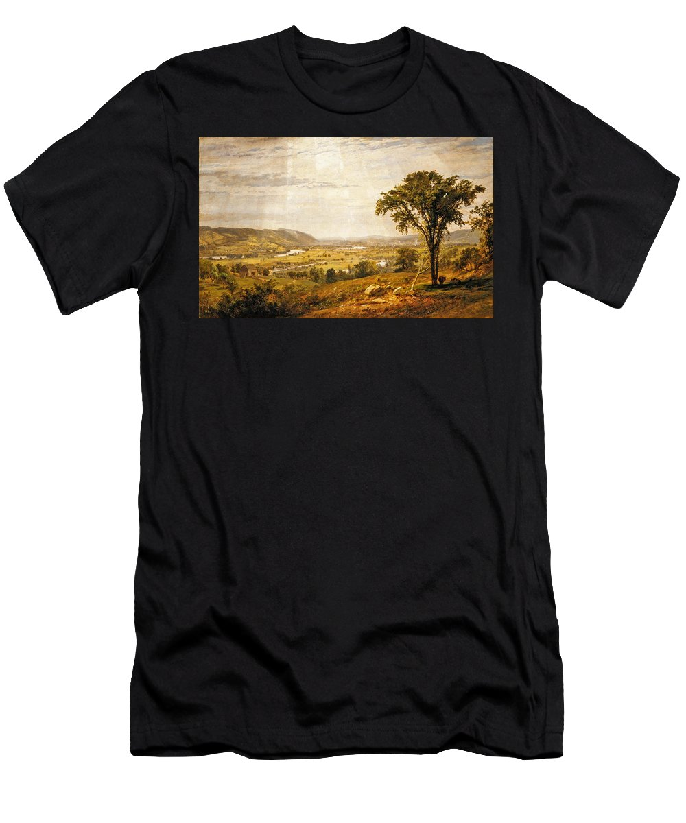 Jasper Francis Cropsey Men's T-Shirt (Athletic Fit) featuring the painting Wyoming Valley. Pennsylvania by Jasper Francis Cropsey