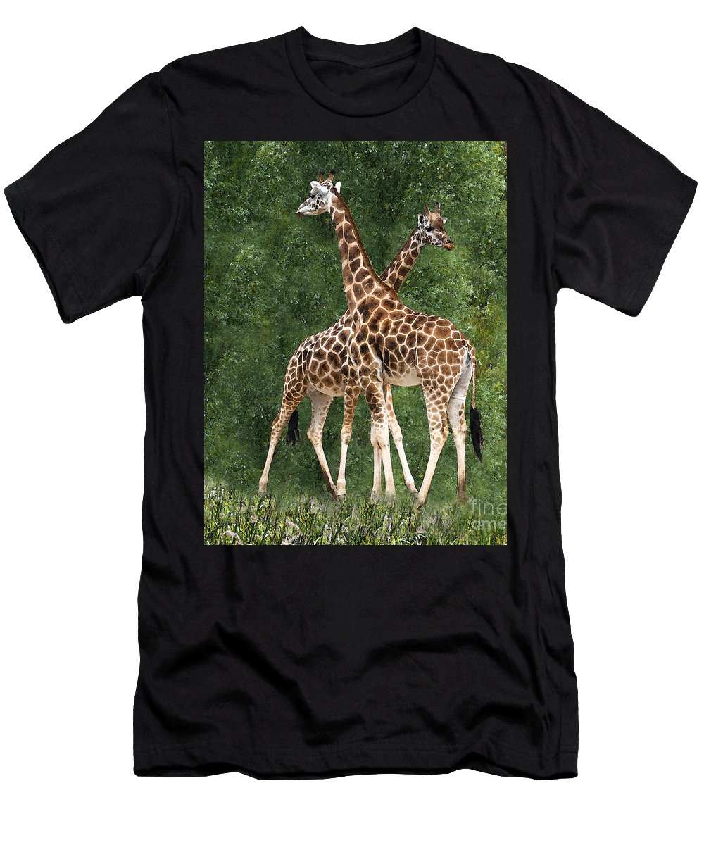Giraffe Men's T-Shirt (Athletic Fit) featuring the photograph X by Sheila Laurens