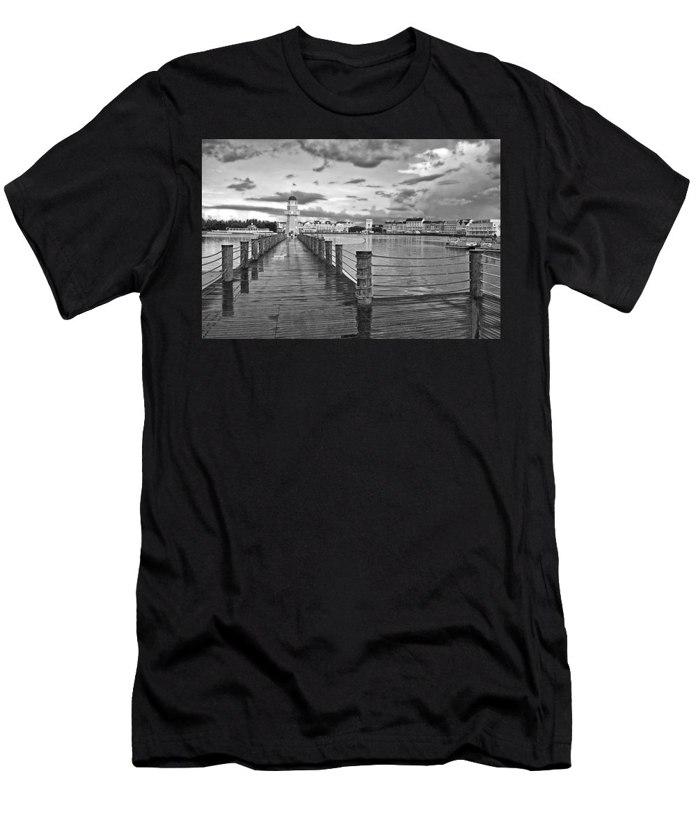 Black And White Men's T-Shirt (Athletic Fit) featuring the photograph Yacht And Beach Lighthouse In Black And White Walt Disney World by Thomas Woolworth