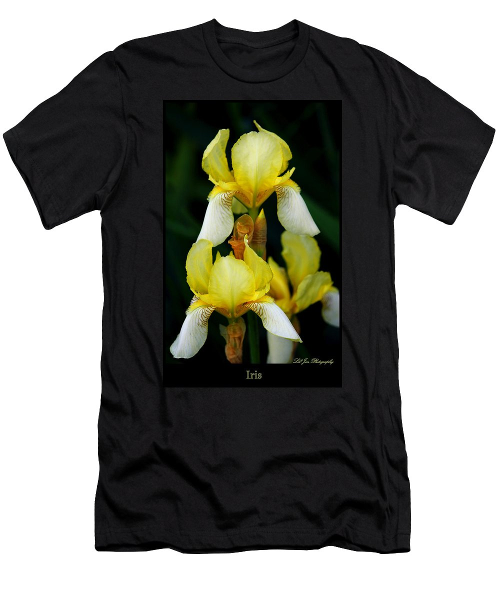 Iris Men's T-Shirt (Athletic Fit) featuring the photograph Yellow And White Irises by Jeanette C Landstrom