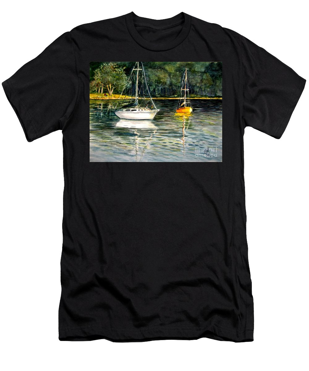 Sailboats Men's T-Shirt (Athletic Fit) featuring the painting Yellow Boat Sister Bay by Marilyn Smith