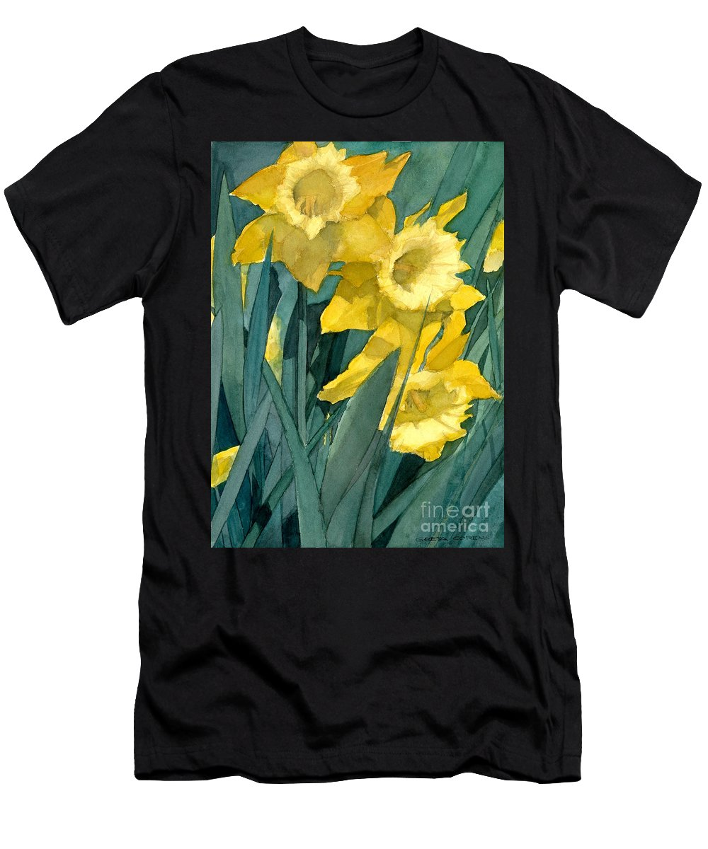 Watercolor Men's T-Shirt (Athletic Fit) featuring the painting Watercolor Painting Of Blooming Yellow Daffodils by Greta Corens