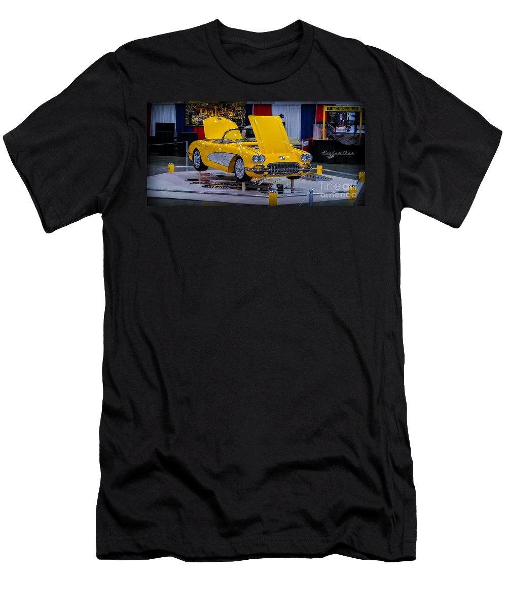 Corvette Men's T-Shirt (Athletic Fit) featuring the photograph Yellow Dream by Customikes Fun Photography and Film Aka K Mikael Wallin