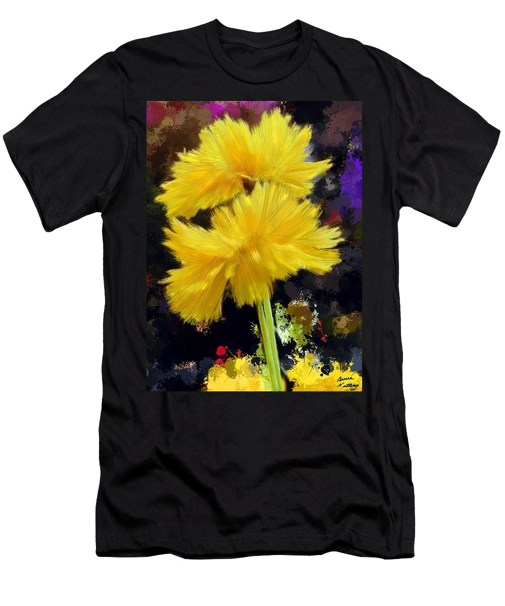 Yellow Men's T-Shirt (Athletic Fit) featuring the painting Yellow Flower With Splatter Background by Bruce Nutting