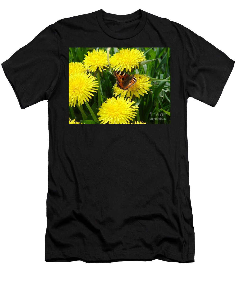 Butterfly Men's T-Shirt (Athletic Fit) featuring the photograph Yellow Flowers by Carol Lynch