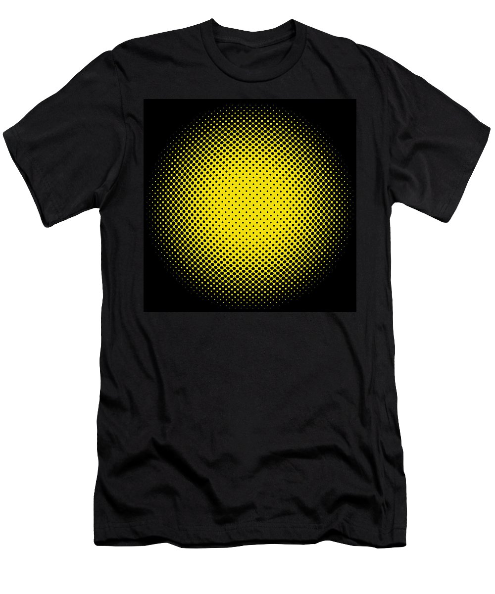 Popular Men's T-Shirt (Athletic Fit) featuring the digital art Optical Illusion - Yellow On Black by Paulette B Wright