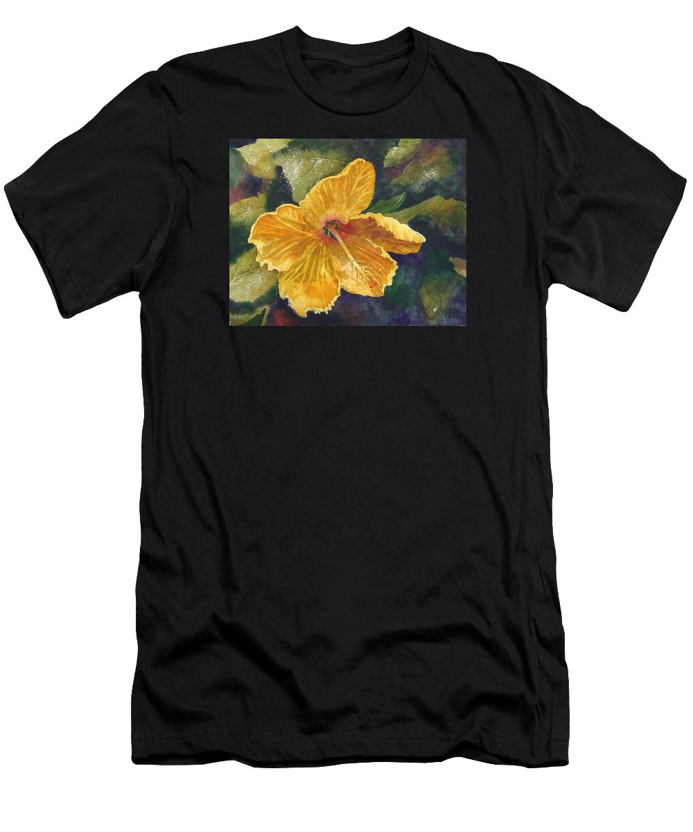Yellow Flower Men's T-Shirt (Athletic Fit) featuring the painting Yellow Hibiscus by Tammy Crawford