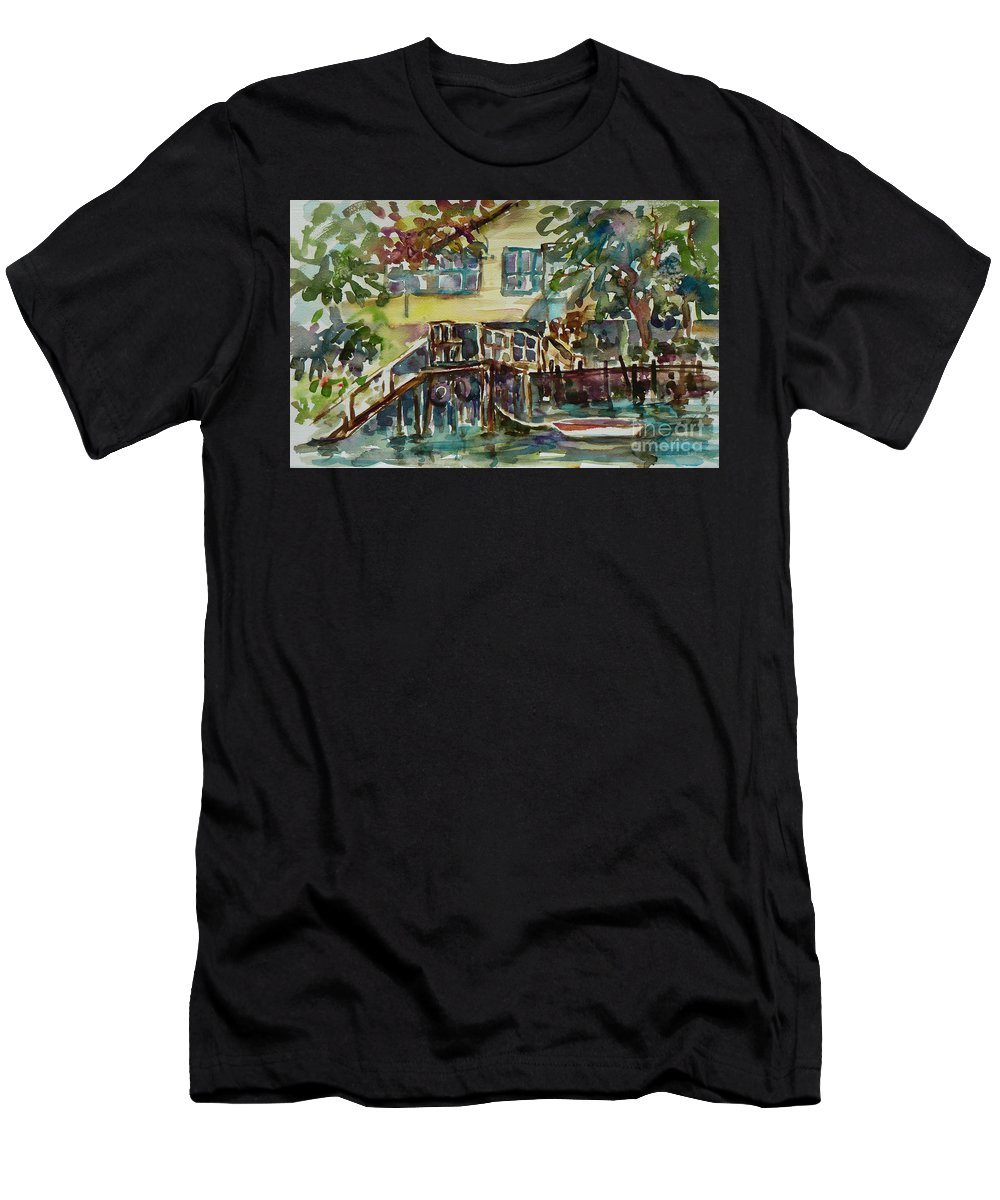 Idyllic Men's T-Shirt (Athletic Fit) featuring the painting Yellow House By The River by Xueling Zou