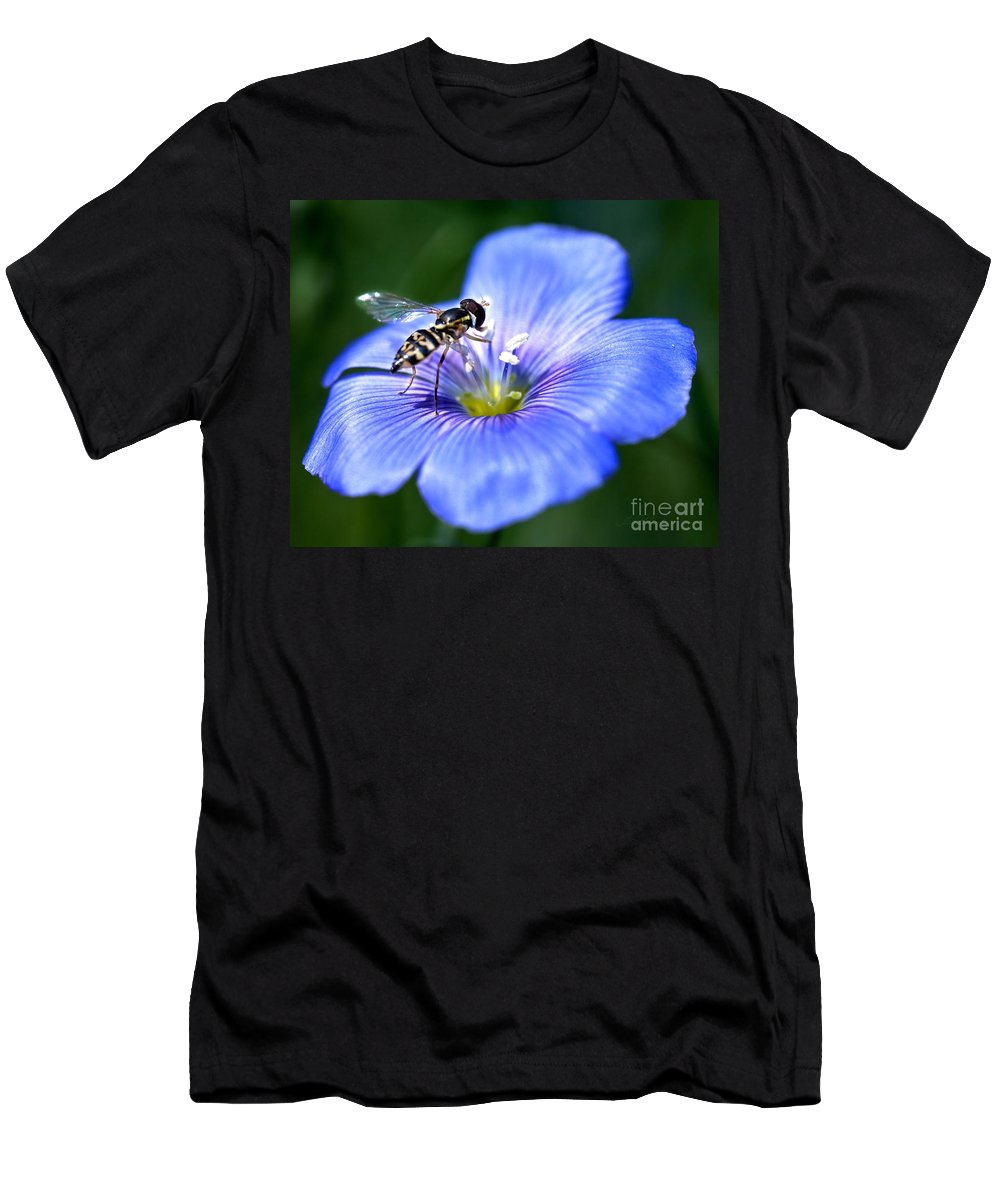 Blue Flax Flower Men's T-Shirt (Athletic Fit) featuring the photograph Blue Flax Flower by Iris Richardson