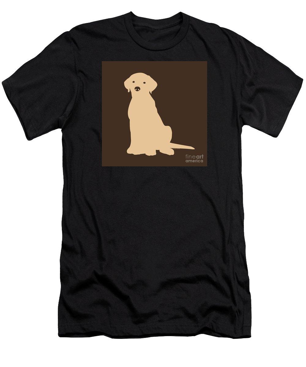 Lab Men's T-Shirt (Athletic Fit) featuring the digital art Yellow Labrador by Elizabeth Harshman