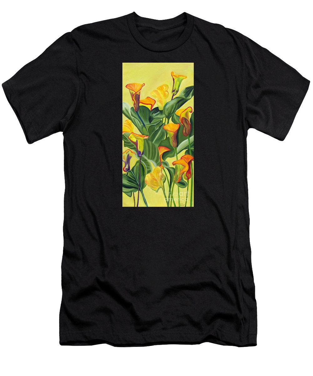 Lilies Men's T-Shirt (Athletic Fit) featuring the painting Yellow Lilies by Annette M Stevenson