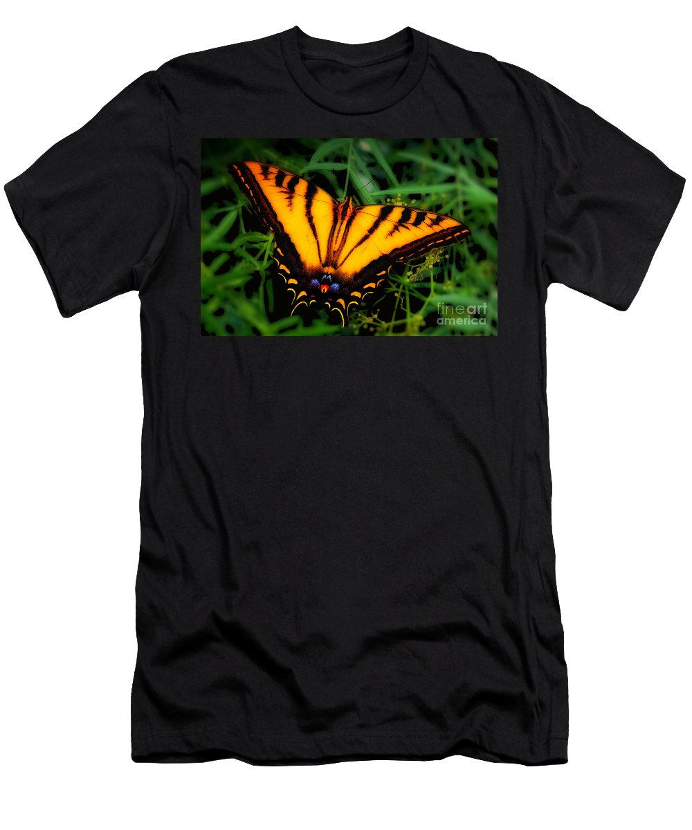 Yellow Orange Tiger Swallowtail Butterfly Fine Art Photography Prints Men's T-Shirt (Athletic Fit) featuring the photograph Yellow Orange Tiger Swallowtail Butterfly by Jerry Cowart