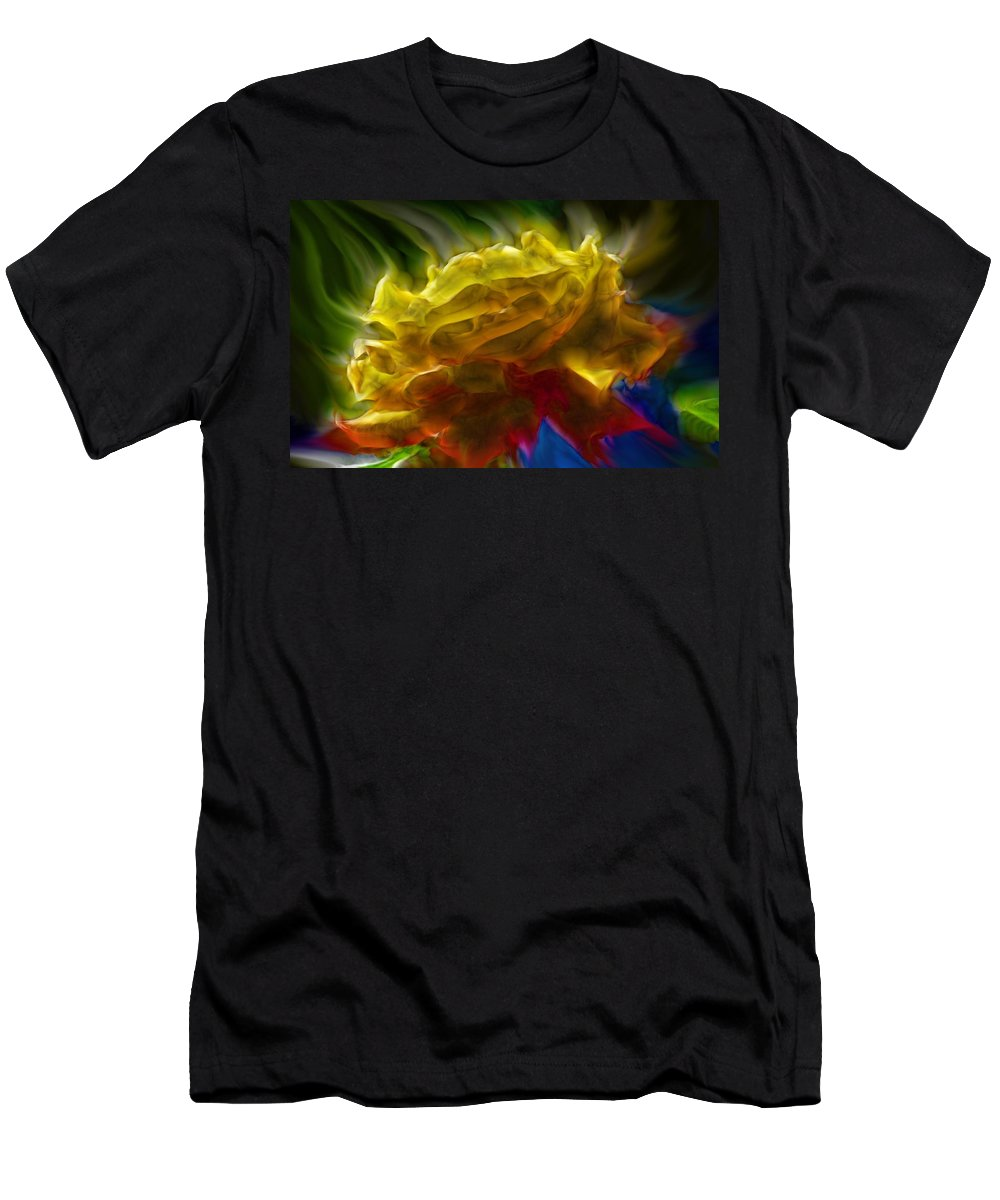 Flowers Men's T-Shirt (Athletic Fit) featuring the digital art Yellow Rose Series - Colorful Fractal by Lilia D