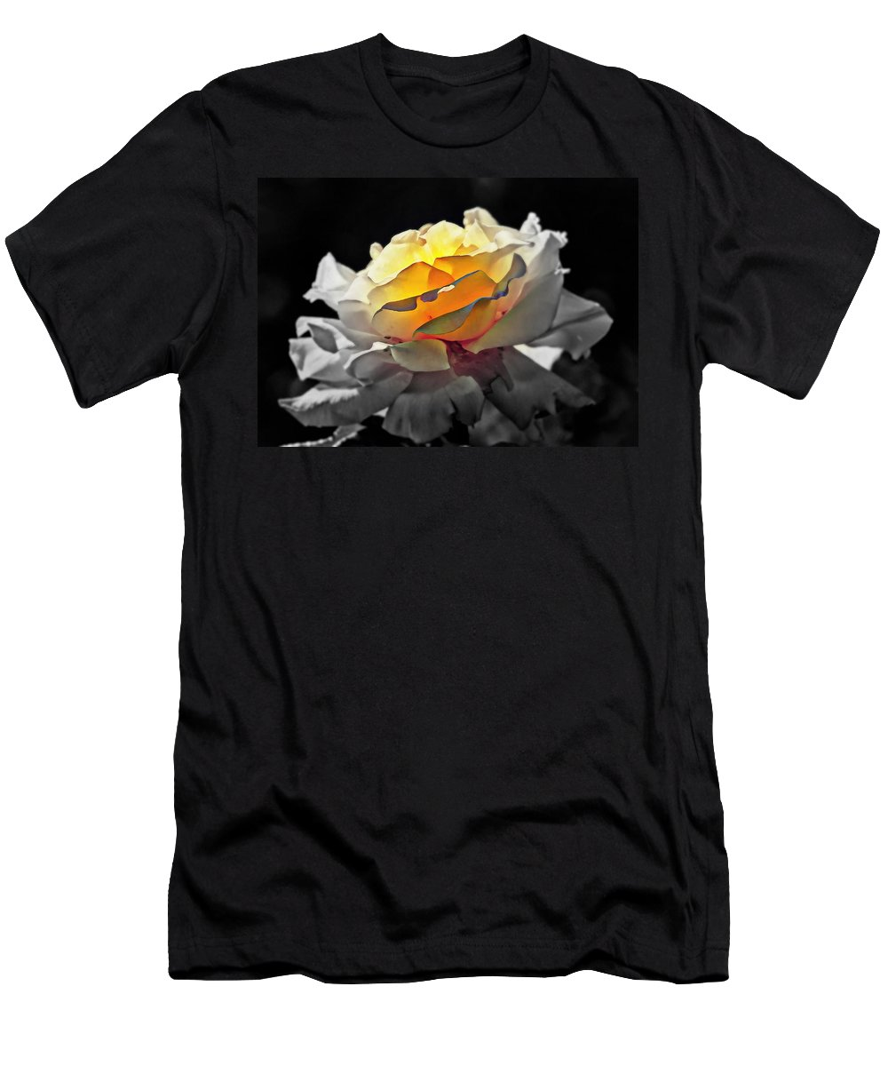Flowers Men's T-Shirt (Athletic Fit) featuring the digital art Yellow Rose Series - ...but Soul Is Alive by Lilia D