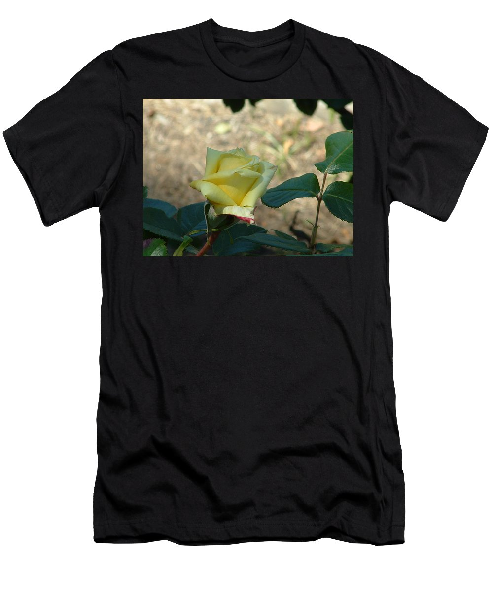 Flower Men's T-Shirt (Athletic Fit) featuring the photograph Yellow Satin by Lorna Hooper