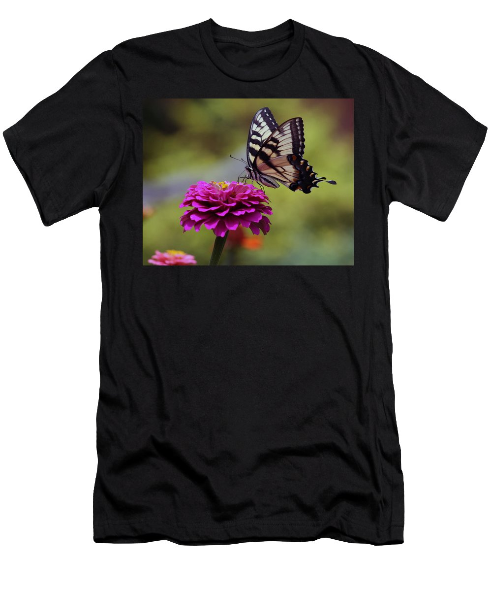 Nature Men's T-Shirt (Athletic Fit) featuring the photograph Yellow Tiger Swallowtail Butterfly by Kay Novy